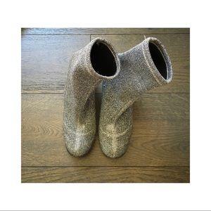 Topshop Silver Metallic Sock Boots